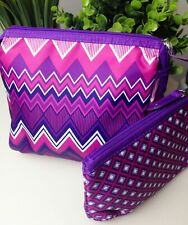 Set of 2 Cosmetic Travel Bags Purple Pink White Modella