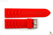 22mm Fits Fossil Red Silicon Rubber Watch BAND Strap