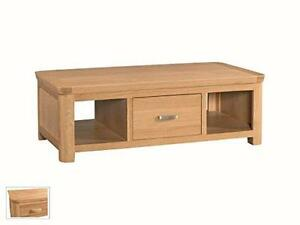 Bevel Natural Solid Light Oak Large Storage Coffee Table Living Room Furniture