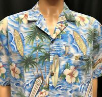 Vtg Royal Creations Hawaiian Shirt Mens XL Aloha Clock Tower Surfboard Made USA