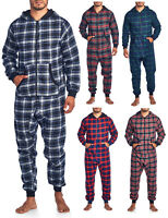 Ashford & Brooks Mens Adult Flannel Hooded One Piece Pajama Union Suit Jumpsuit