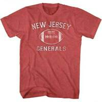 New Jersey Generals LOGO USFL  Men's Tee Shirt Red Heather Sizes S-5XL
