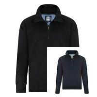 Mens Half Zip Long Sleeved Cotton Plain Sweatshirt Top Jumper Black Navy Size