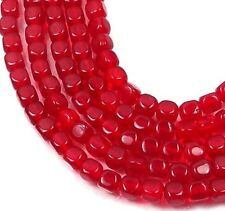 4mm Czech Glass Cube Beads Lt. Siam Ruby (100)