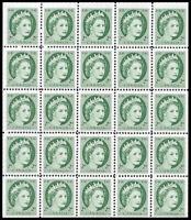 Canada Stamp #338a - Queen Elizabeth II (1954) 25 x 2¢ Miniature Pane of 25