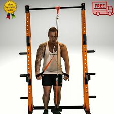 Commercial Home Gym Pulley System / Power Rack -150kg Per Cable - Black & Orange