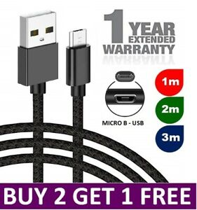 Heavy Duty Braided Micro USB Charger Charging Lead Data Sync Phone Cable 2M 3M