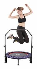 """Indoor Mini Fitness Trampoline with Handle, 2-in-1 Lean Aerobic Exerciser - 38"""""""