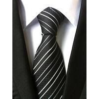 UN3F New Classic Striped Black White JACQUARD WOVEN Silk Men's Tie Necktie