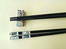 SET Ebony Wood Chopsticks With Abalone Chopsticks Rest