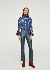 Mango Womens Faux Leather Straight Seam Blue Trousers Size M