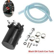 Car Baffled Aluminum Engine Oil Catch Can Reservoir Black Tank Fittings Solid