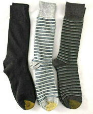 3 Pair Gold Toe Dress Socks, Gray Assort/ Stripes(2), Shoe Sz 7-12
