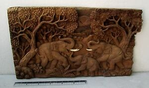 MAGNIFICENT! Golden Teak Wood 3 Elephants Family Somsak Meewan