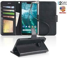 Google Pixel 3 XL Case Leather Wallet Stand Feature Card ID Slots Black Cover