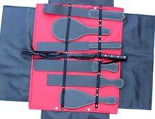 NUOVO BDSM GENUINE LEATHER BONDAGE COMPLETA paddles&flogger Set, Kit-Gratis P&P (UK)
