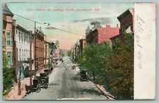 Logansport Indiana~Fourth Street~Horse Buggys~Low-Lying Wires~Storefronts~1907