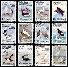 Greenland 1987 to 1990 Birds set of 12, Eagles, Ducks, Ravens etc UNM / MNH