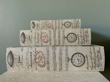 Set of  3 Wooden Canvas Nesting Book Boxes Three Hands 13 x 9.5,10.3 x 7, 8 x 5