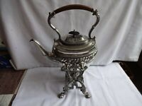 ANTIQUE BOARDMAN GLOSSOP SHEFFIELD  SILVER PLATE TEAPOT WITH STAND & BURNER