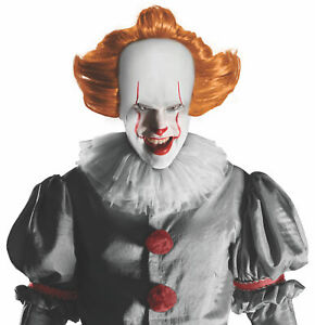 Pennywise IT Movie Horror Clown Mens Costume Orange Wig & Attached Headpiece