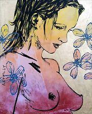 "DAVID BROMLEY Nude ""Romy"" Polymer & Gold Leaf on Canvas 150cm x 120cm"