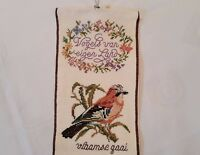 VINTAGE ANIMAL ART BIRDS HAND EMBROIDERY  BROWN GREEN COTTON  WALL TAPESTRY