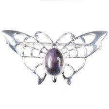 Silver / Blue John Lace-wing Butterfly Brooch