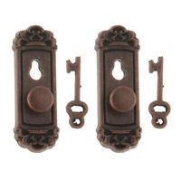 8Pcs Metal Doors Knob Plate Keys Dollhouse Miniature Right Left Handle 1:12