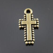 60pcs Antiqued Bronze Vintage Alloy Cross Beads Lace Pendant Charms 35881