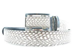 "PELGIO Genuine Cobra Snake Skin Leather Auto Locking Men's Belt 46"" Long Natural"