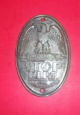 Antique Fire Extinguisher Metal Tag Eagle STOP FIRE Original