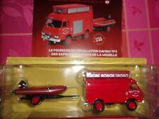 n° 82 SAVIEM TP Camion POMPIER Sapeurs Pompiers de la Moselle + zodiac 1/43 neuf