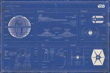 """Star Wars - Movie Poster (Imperial Fleet Blueprint Schematics) (Size: 36"""" x 24"""")"""