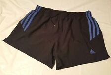 ADIDAS WOMEN'S BLACK ATHLETIC WORK OUT BLUE LINED SHORTS SIZE M  (L13)