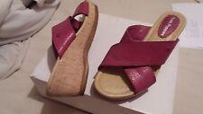 HUSH PUPPIES en Cuir Rose Sandales chaussures compensées talons hauts plateforme taille 5 large
