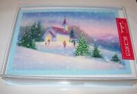 16 Hallmark Happy Holidays MERRY Christmas Cards & Envelopes SNOW GLITTER CHURCH