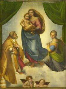Raffaello Sanzio The Sistine Madonna Giclee Canvas Print Poster LARGE SIZE