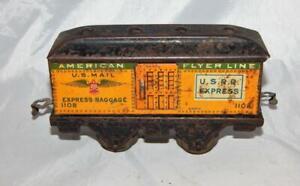 Prewar American Flyer Winged Baggage 1108 YELLOW USRR Passenger Car US Mail O