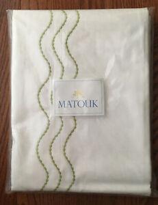 Matouk Full/Queen Flat Sheet 350TC Sierra Cotton Percale~Serena Spring Green NWT