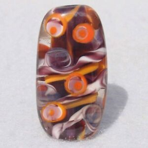 HOISIN Handmade Art Glass Focal Bead Flaming Fools Lampwork Art Glass SRA
