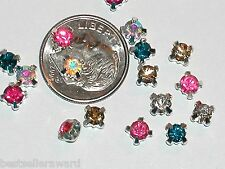 10pc Lot Miniature tiny little Rhinestone Crystal flatbacks charm findings 4-5mm