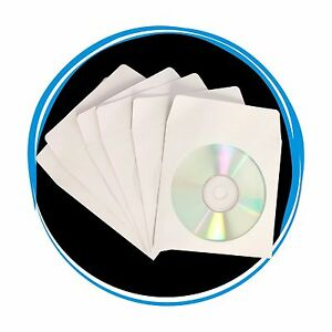 1000 CD DVD White Paper Sleeve with Clear Window and Flap Envelopes 80g