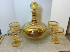 VTG Mid Century Modern Bohemian Glass Decanter & Cordial Glasses Set Amber Gold