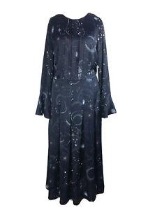 Rare M&S Navy Constellation Sun Moon Stars Galaxy Midi Dress Blogger Fave 14 UK