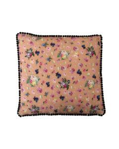 "16"" Vintage style Peach Floral Black pompom trim scatter cushion covers sham"