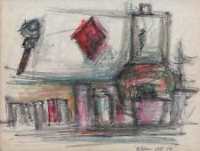 JEANETTE WELTY CHELF Drawing KITCHEN STILL LIFE c1960 ABSTRACT IMPRESSIONISM
