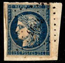 1849 France Scott #6 - 25c Ceres Blue on Yellowish Paper Used, SCV $40.00