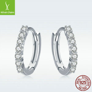 925 Sterling Silver Hoop Huggie Earrings Pave White CZ Shiny Jewelry For Goddess