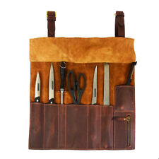 Roll Knife Genuine Leather Bag Chef Case Storage Handles Handmade